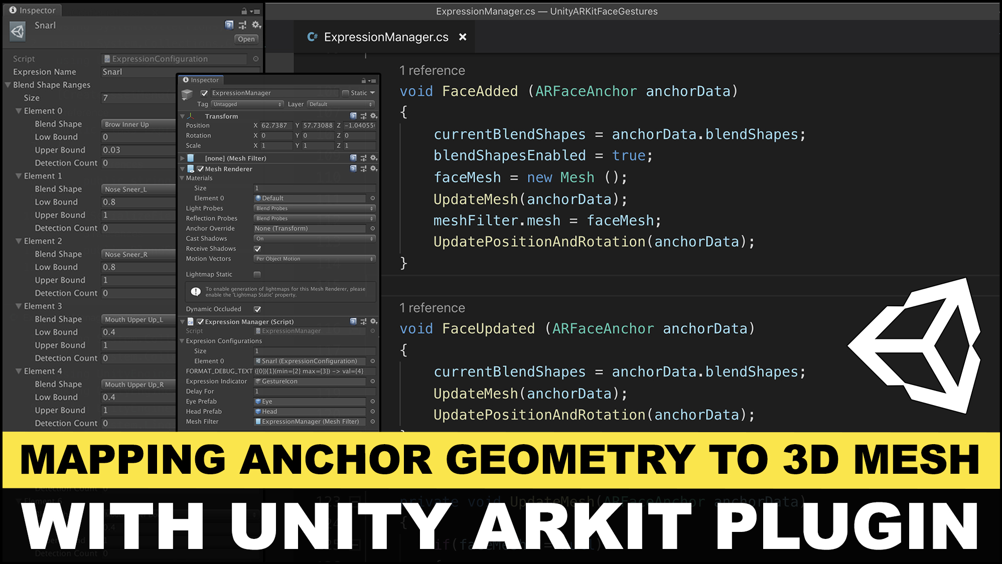 Unity3d ARKit Face Tracking and generating a 3D to map to face geometry