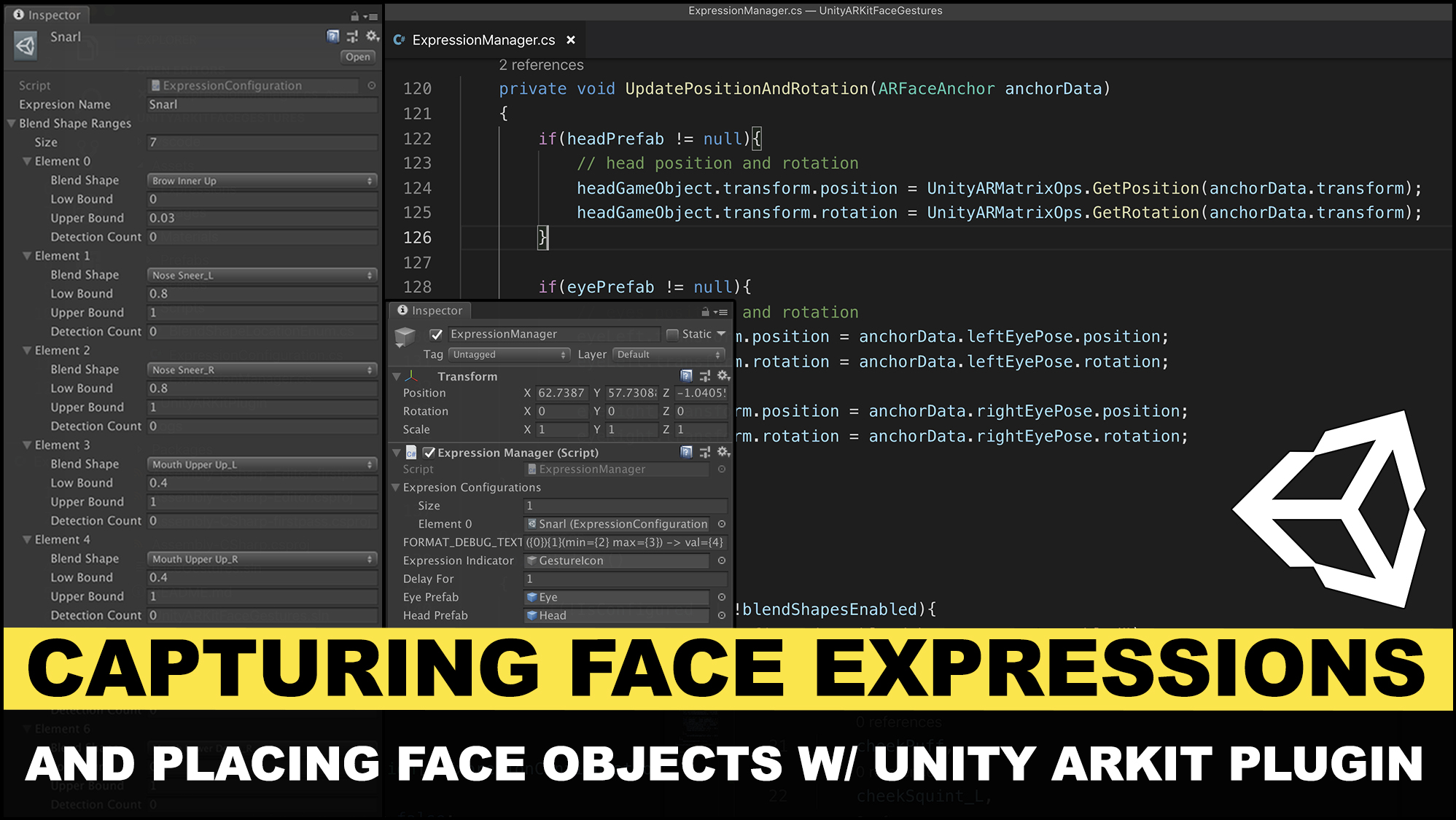 Unity3d ARKit Face Tracking and placing face game objects with anchor data